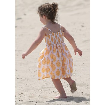 Cotton Dress in Yellow Floral Print