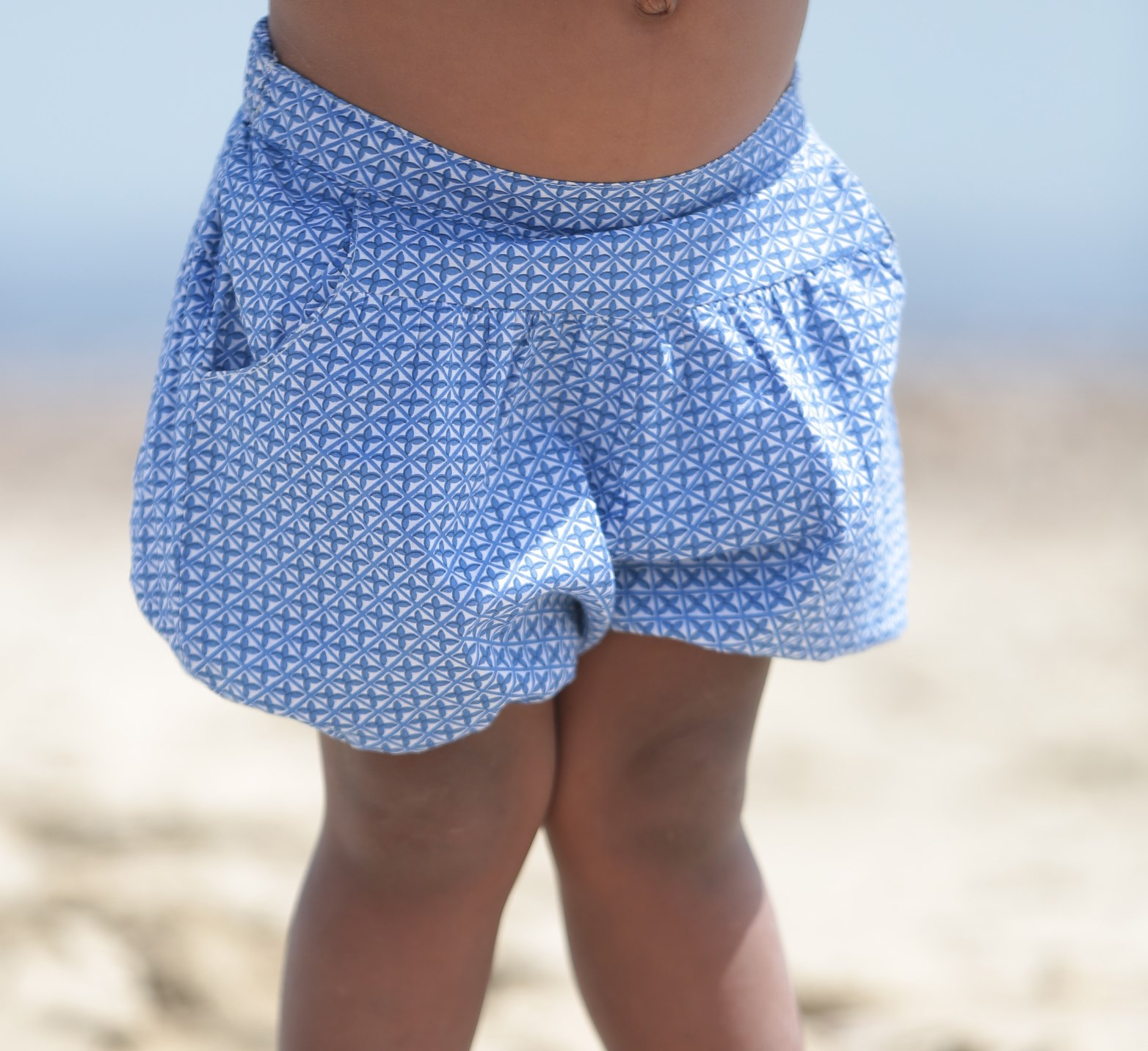 Cotton Lala Shorts in Blue Geo Print